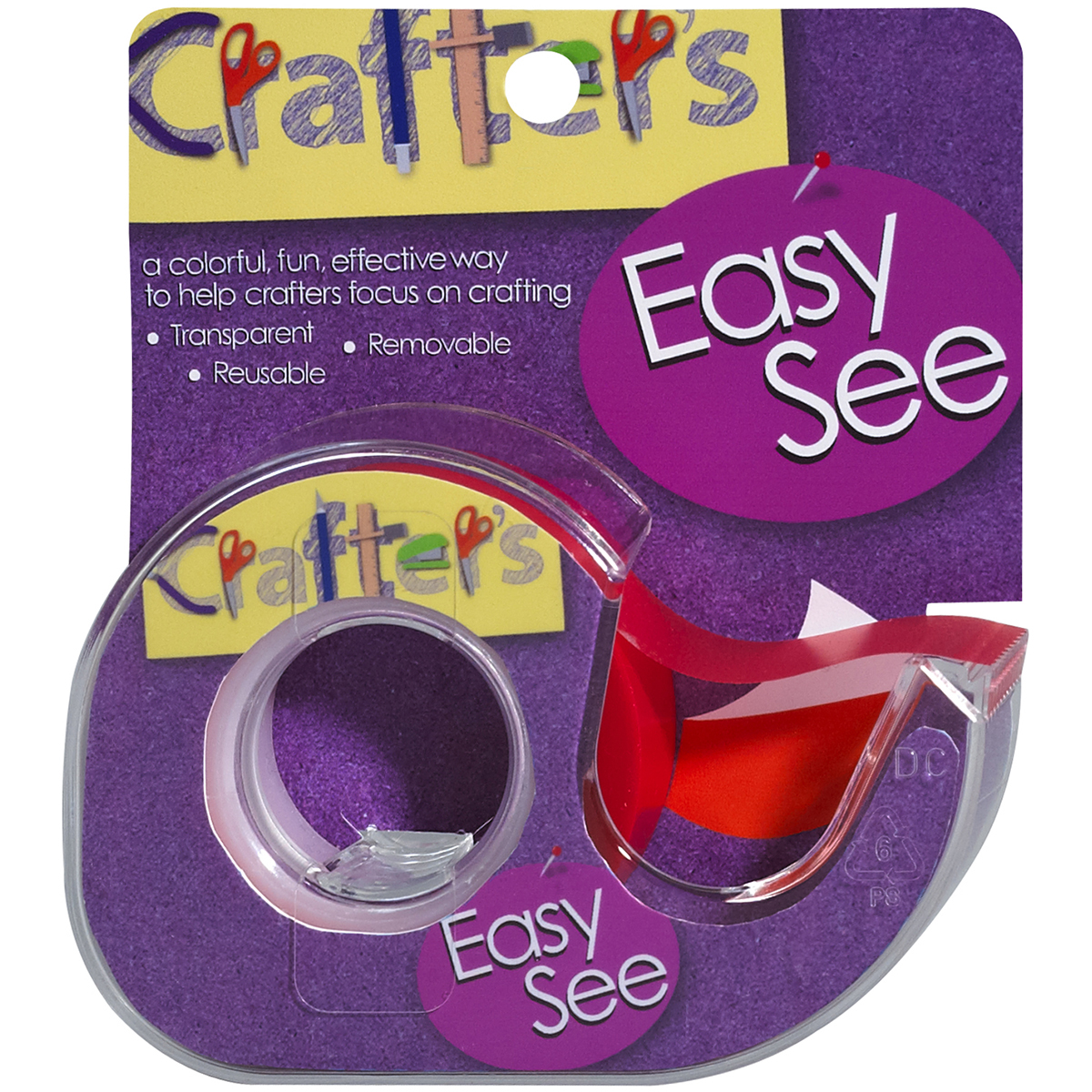 "Crafter's Easy See Removable Craft Tape .5""X720""-Orange"