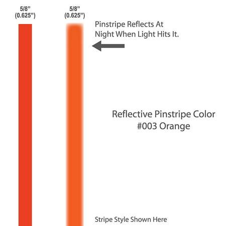 "5/8"" inch wide REFLECTIVE Pinstripes. / ORANGE / 12"