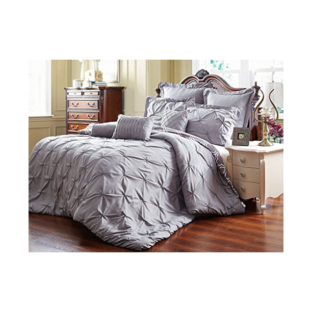 Unique Home Pinch Pleat 8 Piece Reversible Comforter Set Bed In a
