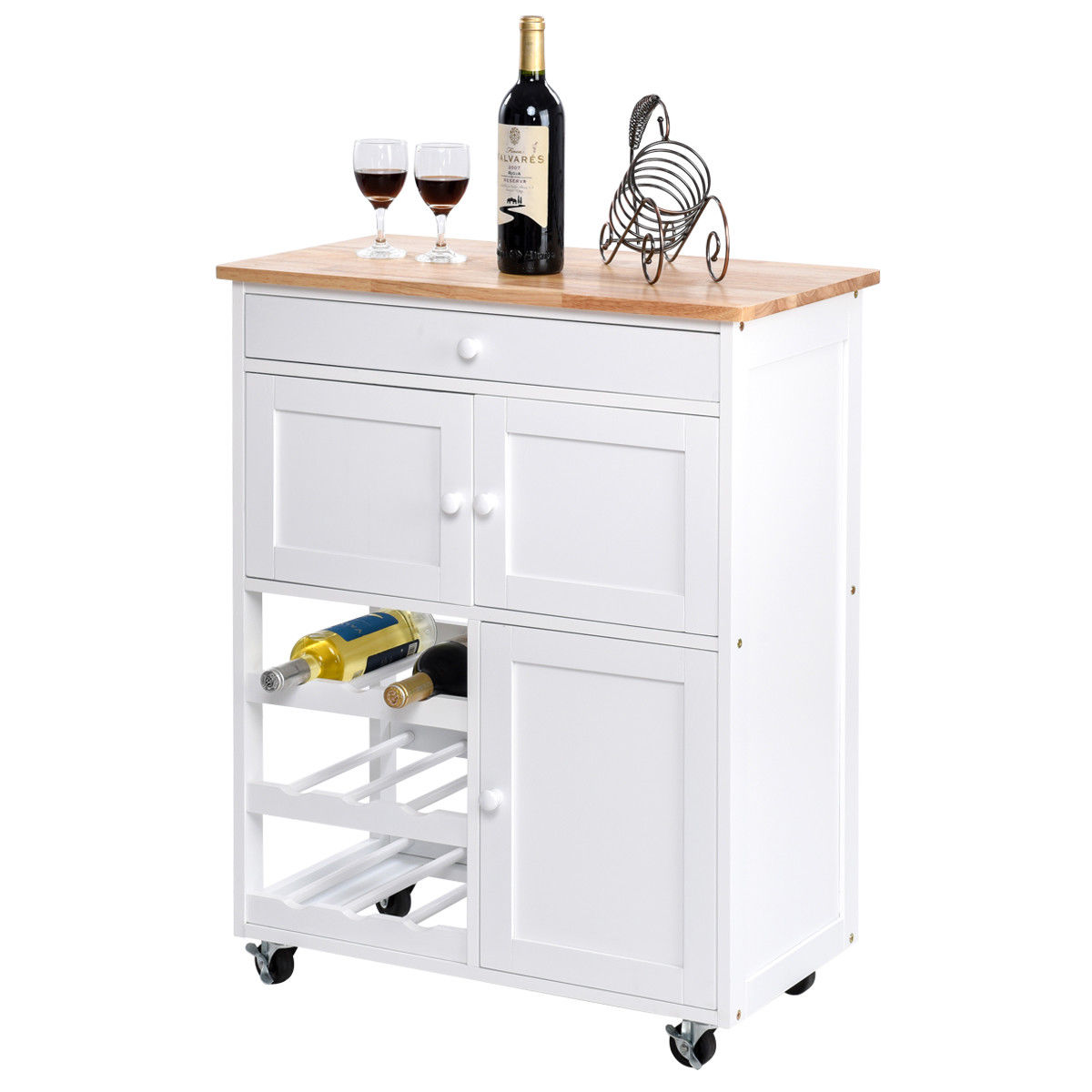 Gymax modern rolling kitchen cart trolley island storage cabinet w drawerwine rack
