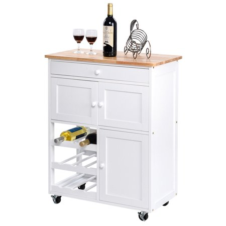 Gymax Modern Rolling Kitchen Cart Trolley Island Storage Cabinet W Drawer Wine Rack
