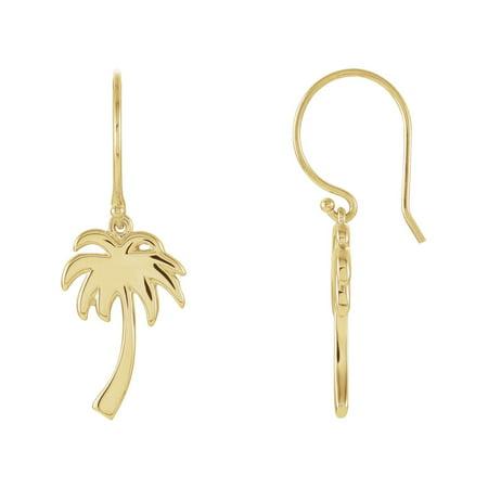Pee Palm Tree Earrings In 14k Yellow Gold