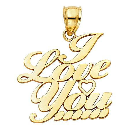 Italian Theme Ideas (Real 14k Yellow Solid Italian Gold Fancy Script Font I Love You Charm 19 x 20mm Pendant Necklace Fine Jewelry Gift Idea)