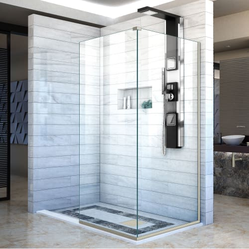"DreamLine SHDR-3230343 Linea Two Adjacent Frameless Shower Screens 34"" and 30"" W"