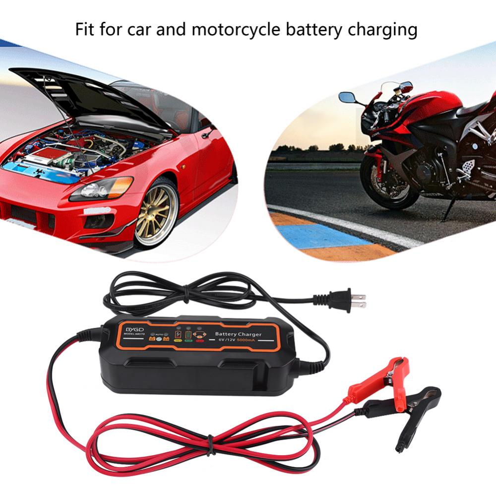 6v 12v 5a Automatic Smart Battery Charger For Car Vehicle Truck 12v5a Automotive With Polarity Output Short Circuit Motorcycle Boat Agm Gelbattery