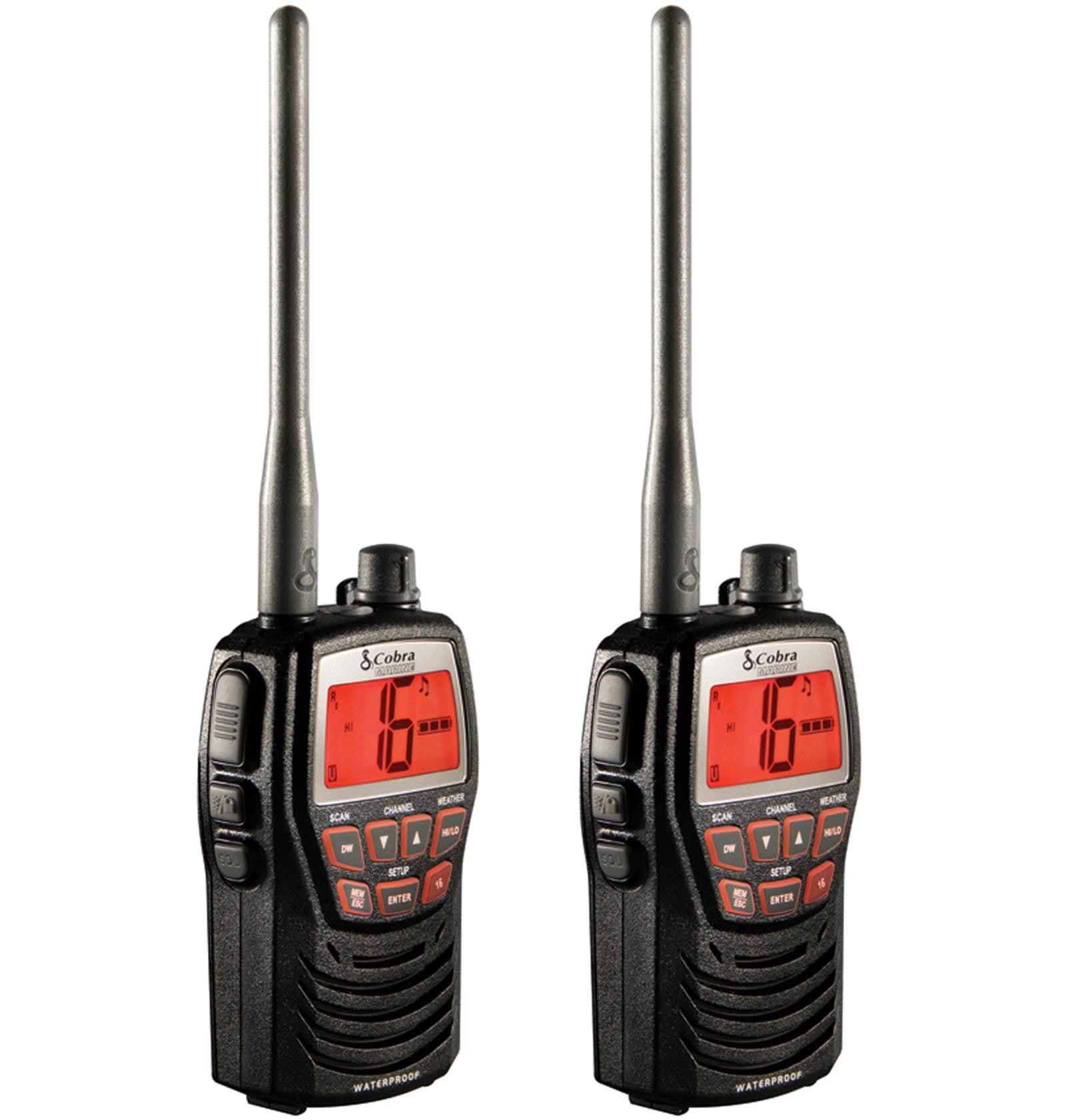 2 Cobra 3w Rechargeable 2 Way Vhf Walkie Talkie Marine Boat Radios Mr Hh125 Walmart Com Walmart Com