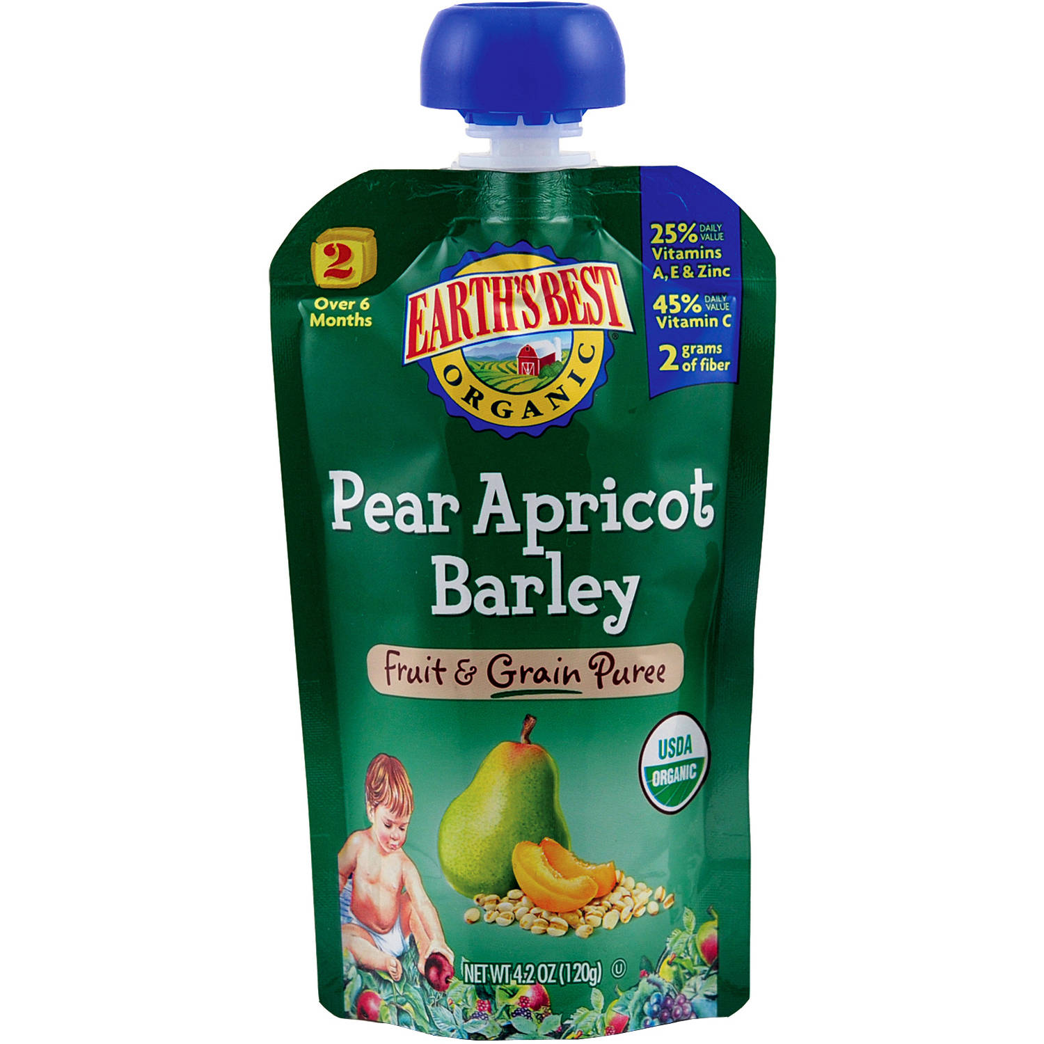 Earth's Best Organic Pear Apricot Barley Fruit & Grain Puree, 4.2 oz, (Pack of 6)