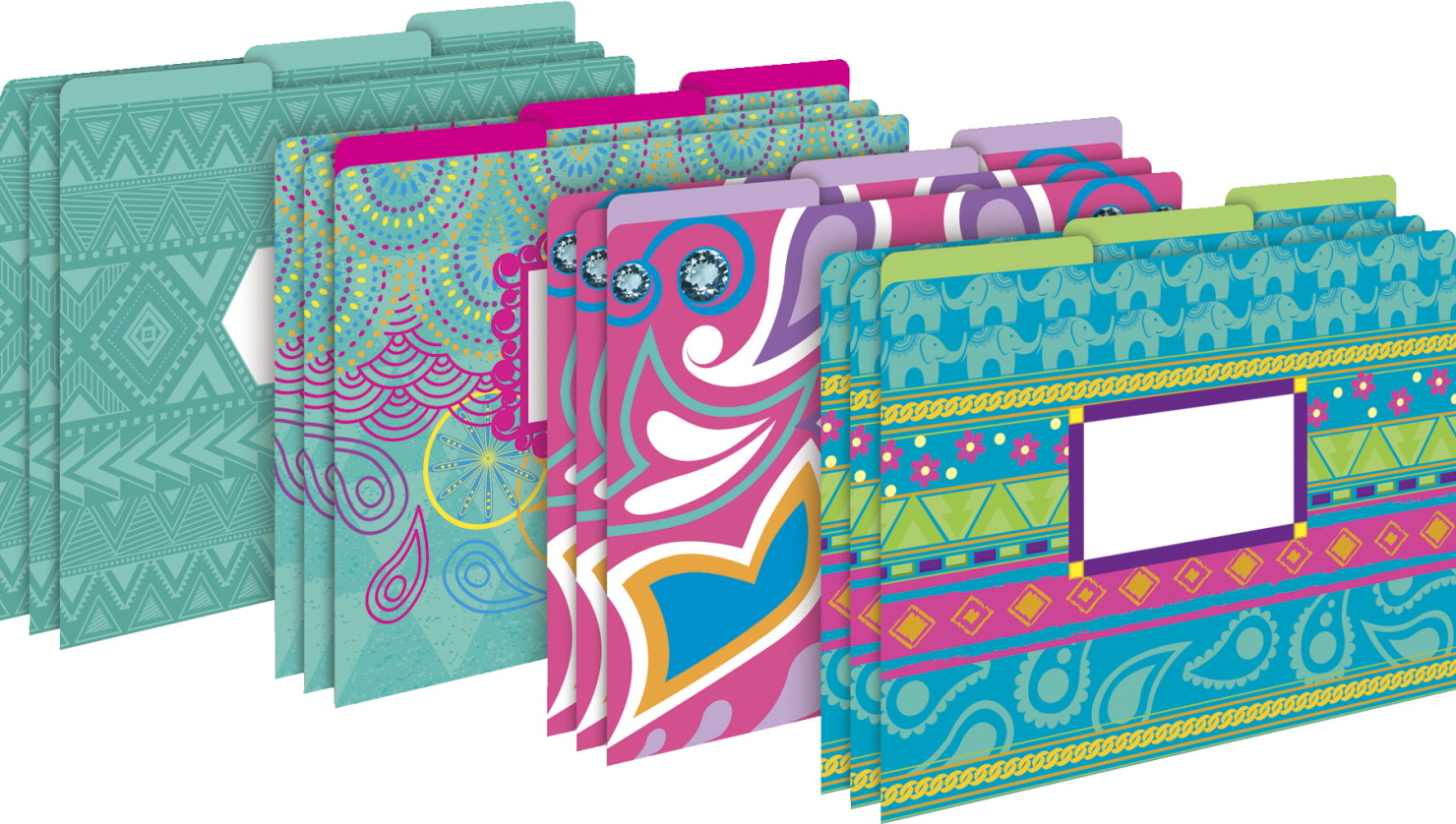 Barker Creek Letter-Size File Folders Bohemian Multi-Design Set (BC1339) by Barker Creek Publishing
