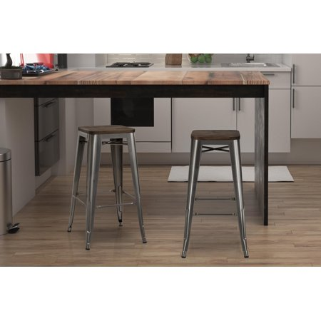 "Set of 2 30"" Fusion Metal Backless Bar Stool with Wood Seat Gun Metal - Dorel Home Products"