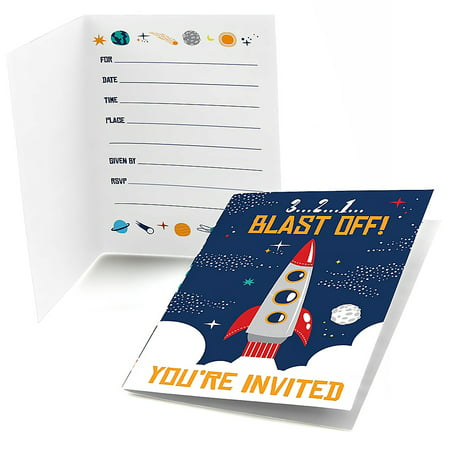 Blast Off to Outer Space - Fill in Rocket Ship Baby Shower or Birthday Party Invitations (8 Count)