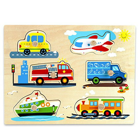 Imagination Generation Professor Poplar's Wooden People Movers Cars, Trucks, Vehicles Peg Puzzle Puzzle Vehicle Car