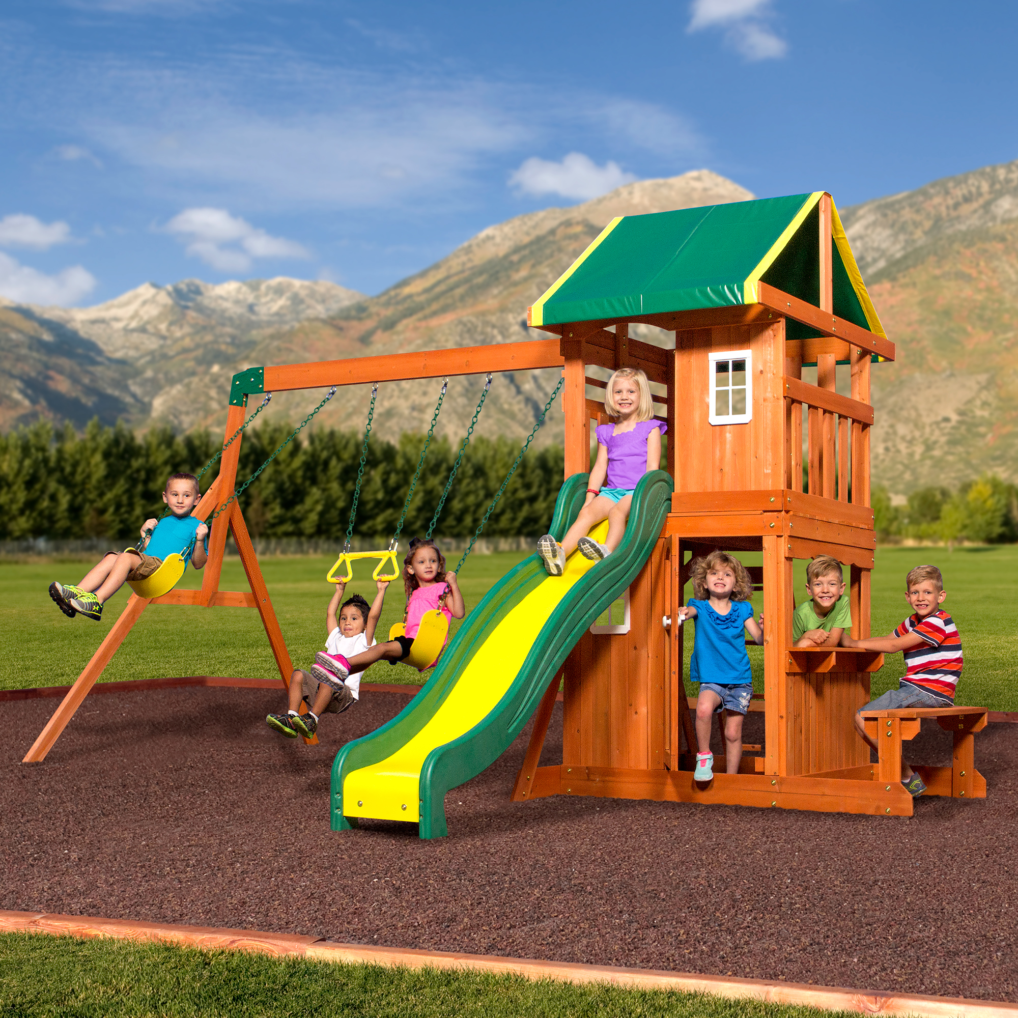 Backyard Playset Reviews backyard discovery oakmont cedar wooden swing set - walmart