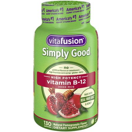 Vitafusion Simply Good Adult Vitamin B12 Gummies, Pomegranate, 3000 mcg, 130 Ct