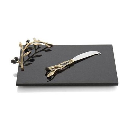 Michael Aram Olive Branch Gold Cheese Board & Knife - 175120 Michael Aram Olive Branch