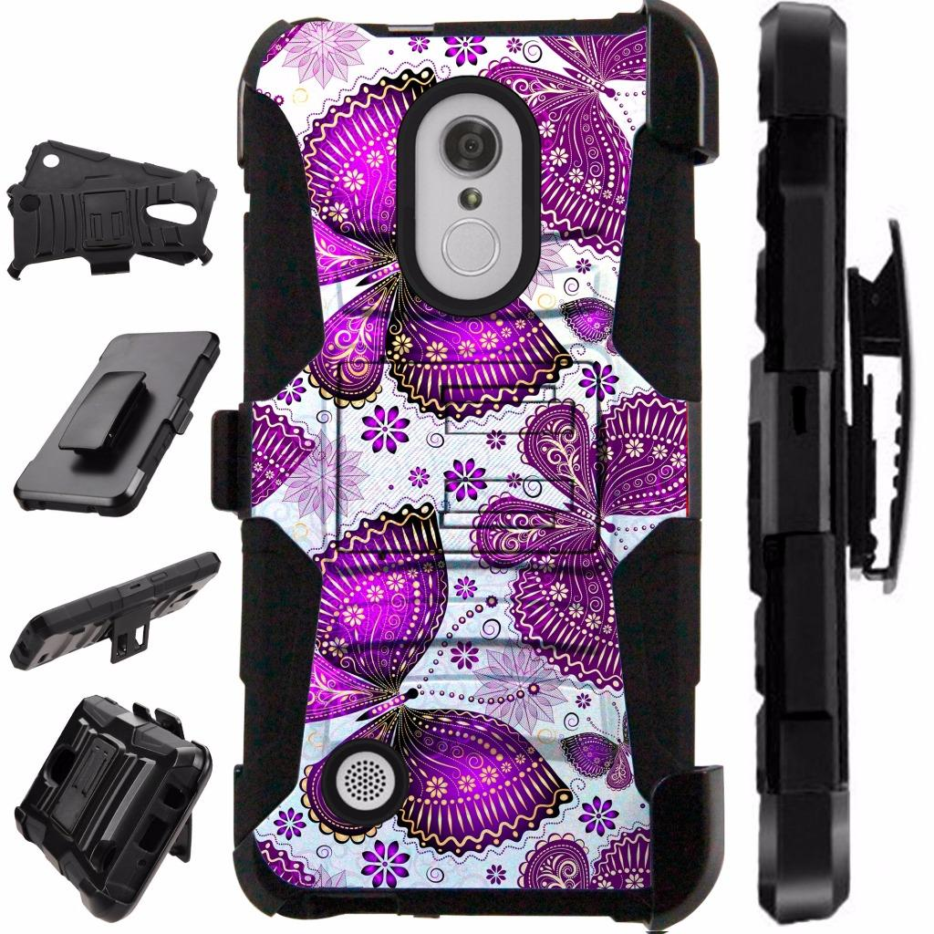 For LG K20 Plus / LG K20 V / LG K20V / LG Grace / LG K10 (2017) / LG Harmony / LG V5 Case Hybrid Dual Layer Cover Kick Stand Rugged LuxGuard Holster (Purple Butterfly)
