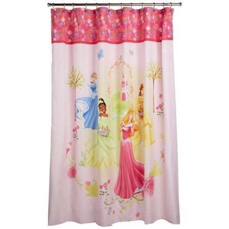 Disney Princess Microfiber Shower Curtain Features 4 Princesses 70in X 72in