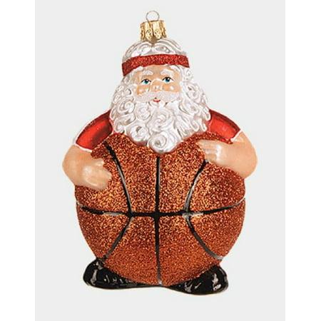 - Basketball Ball Body Santa Claus Polish Glass Christmas Tree Ornament Sports