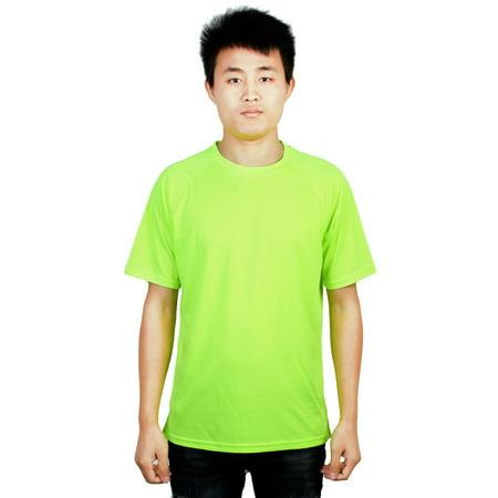 Wait Training T-shirt - Sports Training Round Neck Basic Short Sleeve T-shirt Fluorescent
