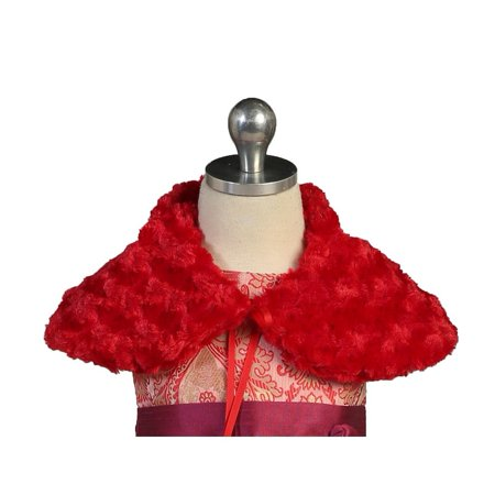 Angels Garment Baby Girls Red Short Faux Fur Shoulder Collar Cape 24M-4T (Girls Cape)