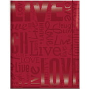 "Embossed Gloss Expressions 100-Pocket Photo Album, 4.75"" x 6.5"", Live, Love and Laugh, Red"