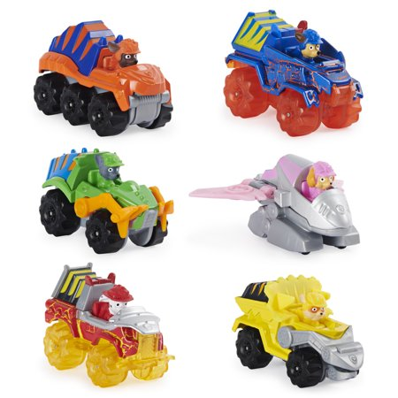 PAW Patrol, True Metal Dino Rescue Gift Pack of 6 Collectible Die-Cast Vehicles, 1:55 Scale, Walmart Exclusive