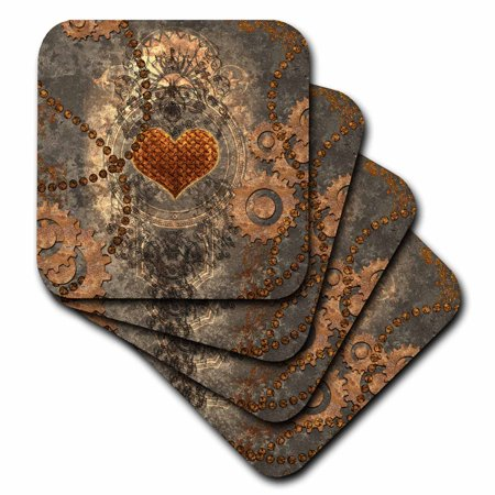 3dRose Steampunk, heart and gears rusty metal - Ceramic Tile Coasters, set of