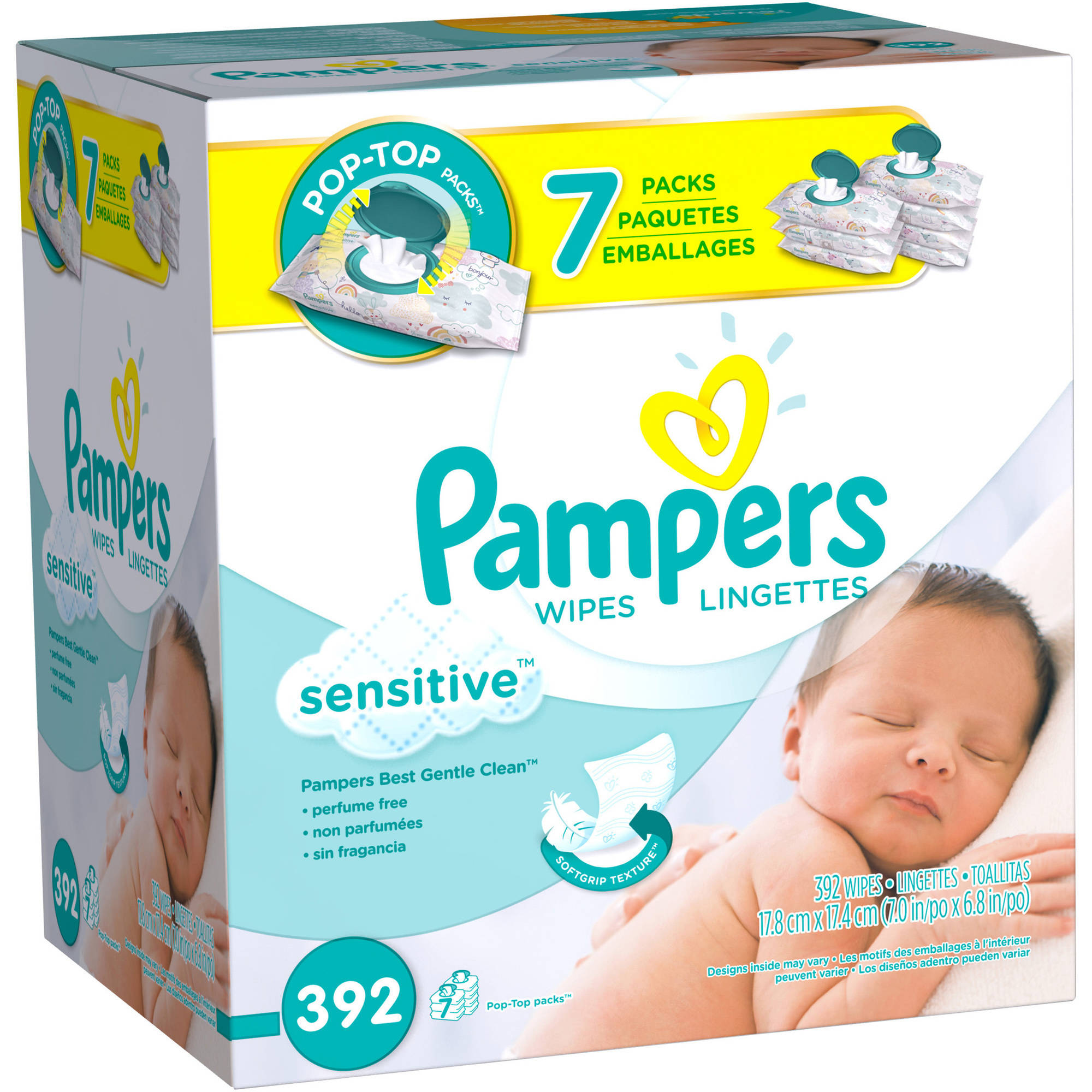 Pampers Sensitive Wipes, Unscented, 7 packs of 56 (392 count)