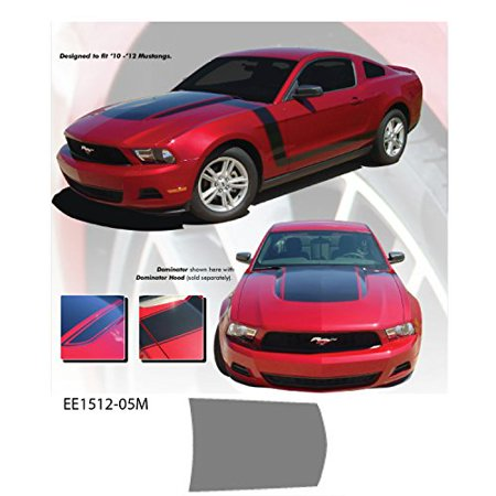 Ford Mustang 2010 to 2012 Silver Dominator Hood Stripe Vinyl Graphics (2012 Stripe)