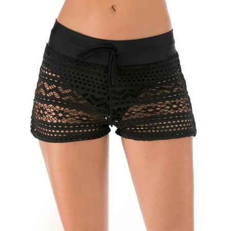 Plus Size S-XXL Women High Waist Swim Shorts+Briefs Bikini Tankini Bottom Pants Lace Hollow Out Swimsuit Swimwear Sexy Swimwear Swimming Bathing Suit Beachwear