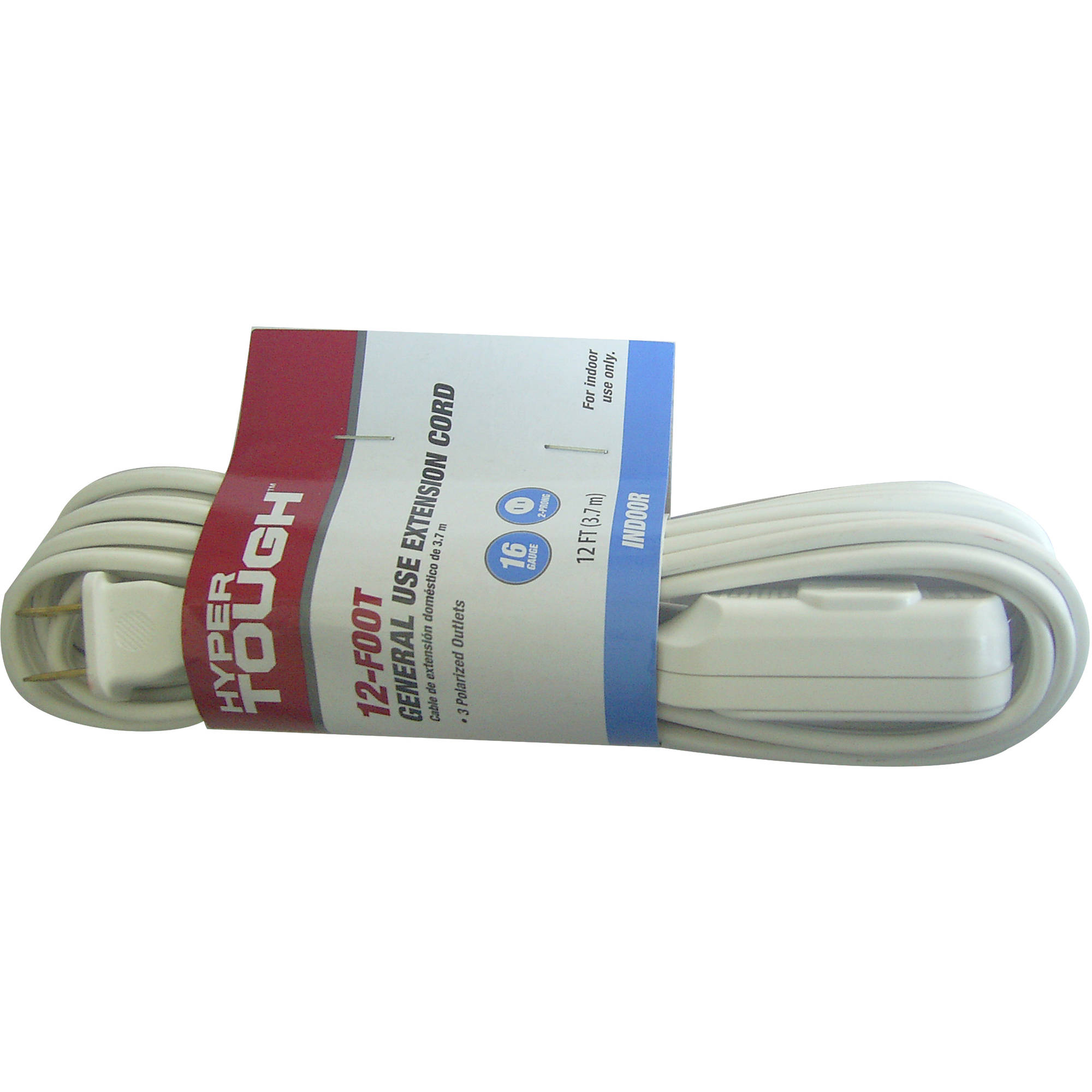 Hyper Tough 12' 16/2 SPT-2 White Indoor Extension Cord