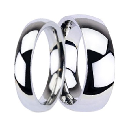 Matching His and Hers Wide Titanium Wedding Bands Ring Set for Him and
