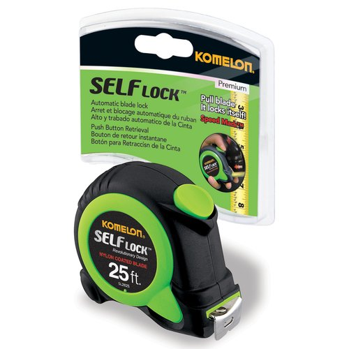 "Komelon 25' x 1"" Self Lock Tape Measure, Green"