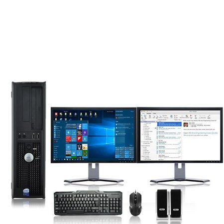 Dell Optiplex Desktop Computer 2.9 GHz Core 2 Duo Tower PC, 4GB RAM, 500 GB HDD, Windows 10, ATI , Dual 17