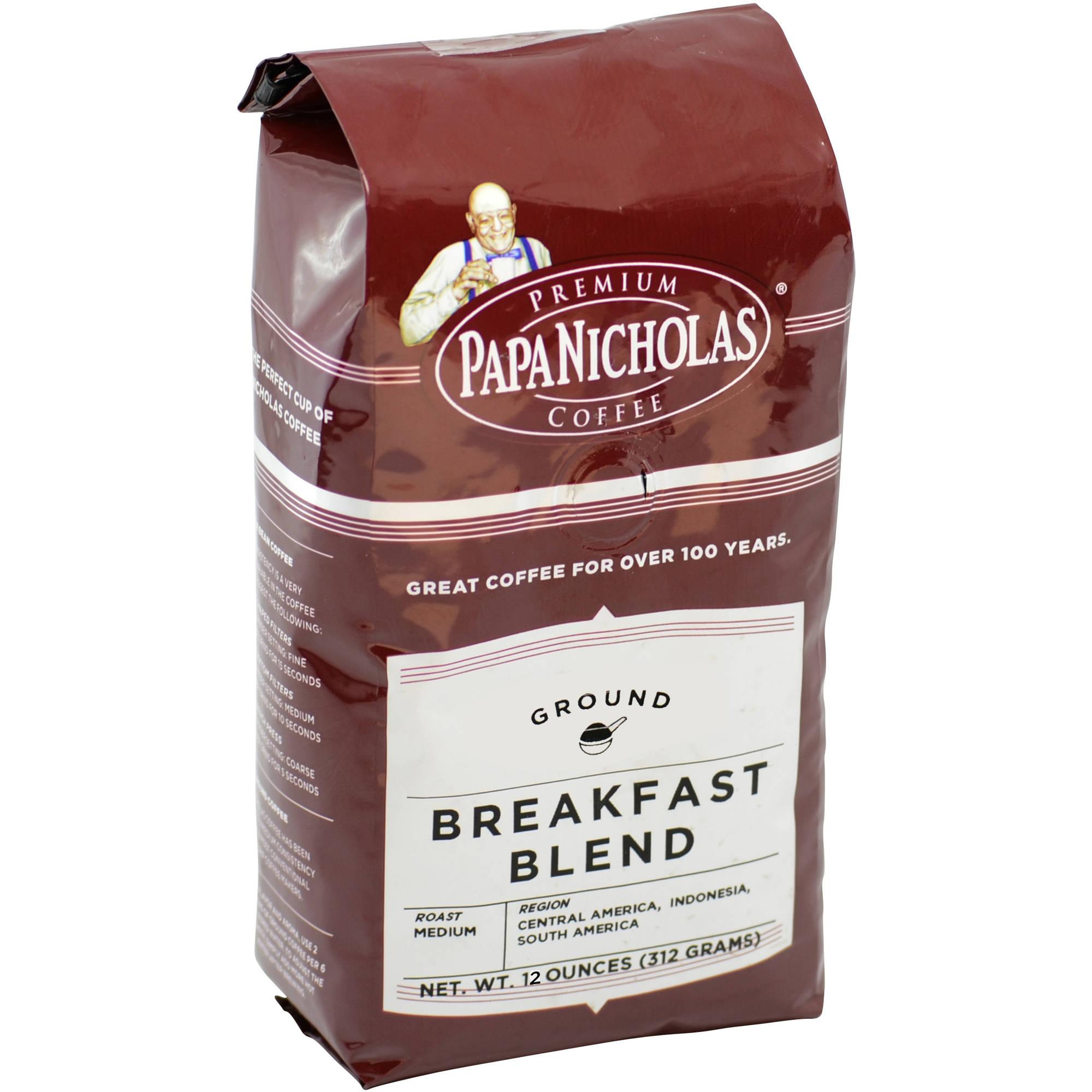 PapaNicholas Coffee Breakfast Blend Ground Coffee, 12 oz