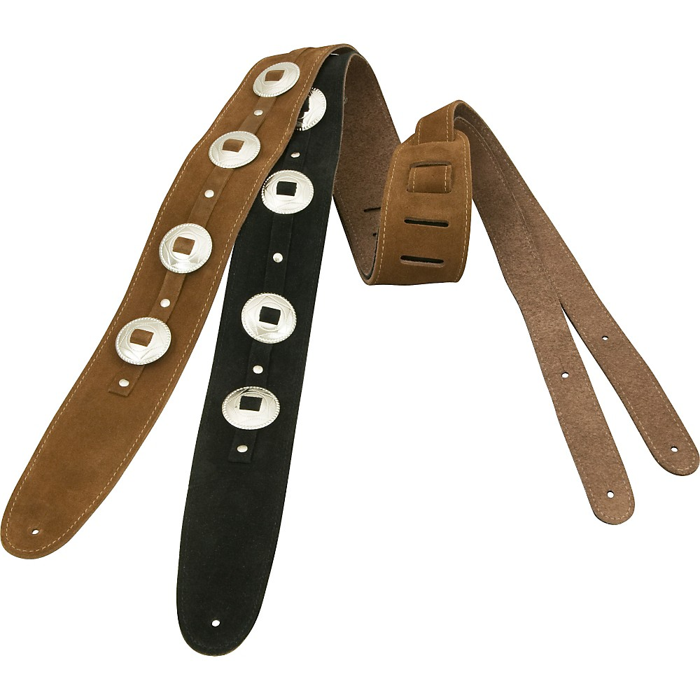 D'Addario Planet Waves Deluxe Suede Guitar Strap with Conchos Brown