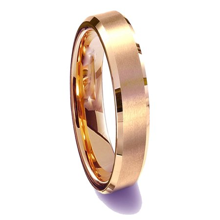 Gemini His or Her Rose Gold Comfort-Fit Beveled Edge Plain Wedding Band Ttianium Ring Valentine's Day Gift for Men Women, Width