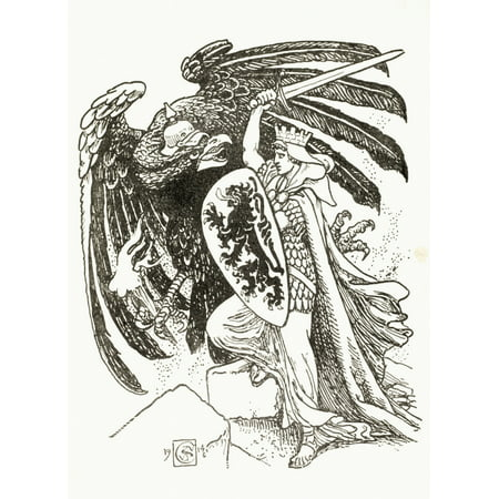 German Eagle Coat Of Arms - A Warrior With A Shield Emblazoned With A Lion From The Belgian Coat Of Arms Battles The German Eagle After And Illustration By Walter Crane In King AlbertS Book Published 1915 A Warrior With A Shield