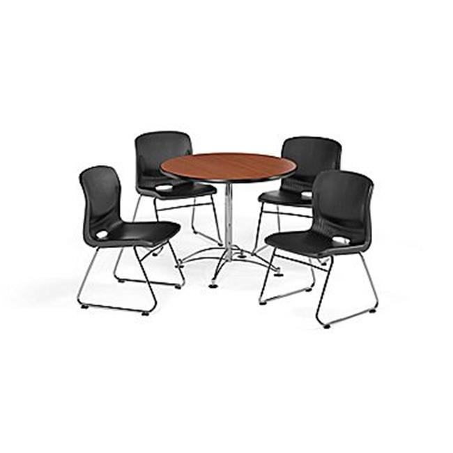 """OFM Multi-Use Break Room Package, 36"""" Square Table with Plastic Stack Chairs, Gray Nebula Finish with Chrome-Plated Steel Base and Wine Seats (PKG-BRK-099)"""