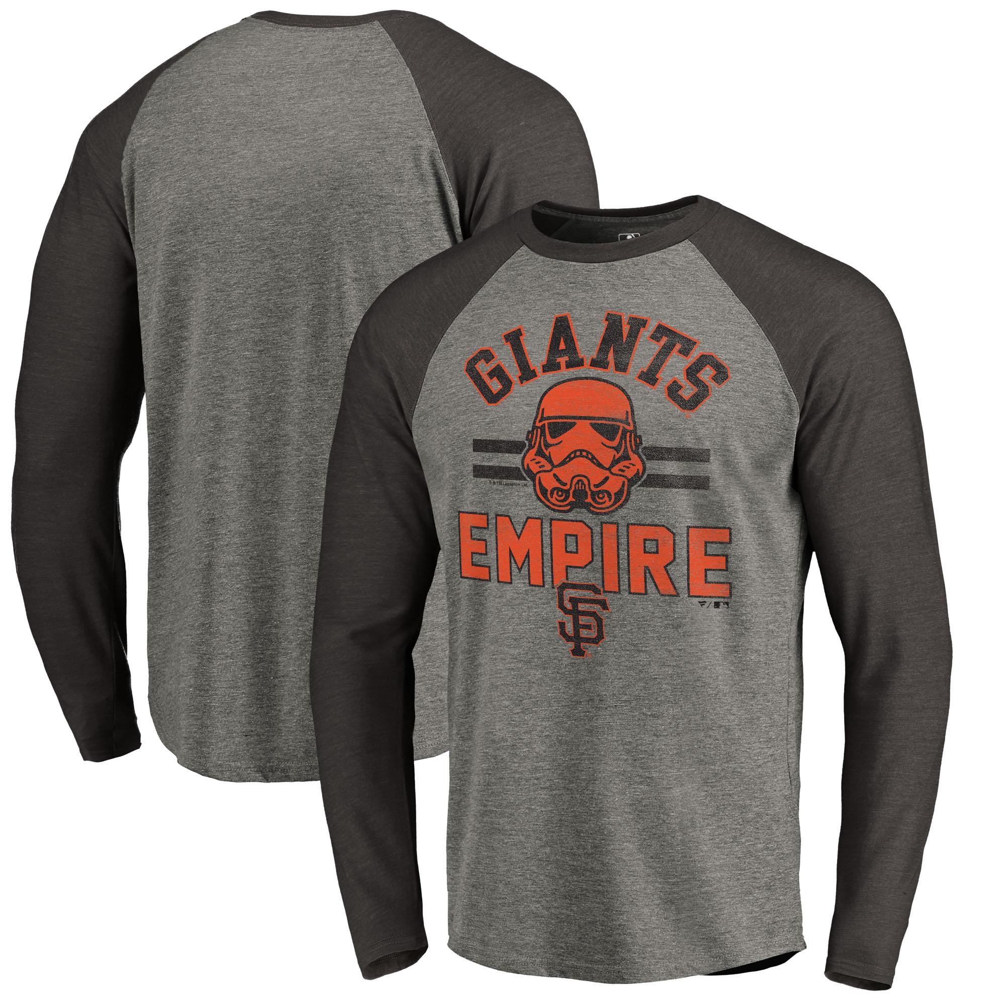 San Francisco Giants Fanatics Branded MLB Star Wars Empire Raglan Long Sleeve T-Shirt - Heather Gray