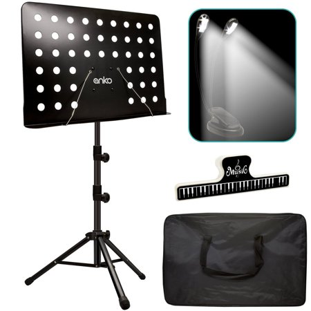 Music Stand, ANKO Professional Collapsible Music Stand with Music Book Clip, LED Music Stand Lamp and Carrying Bag. suitable for Violin, Guitar, Flute and Instrumental Performance.