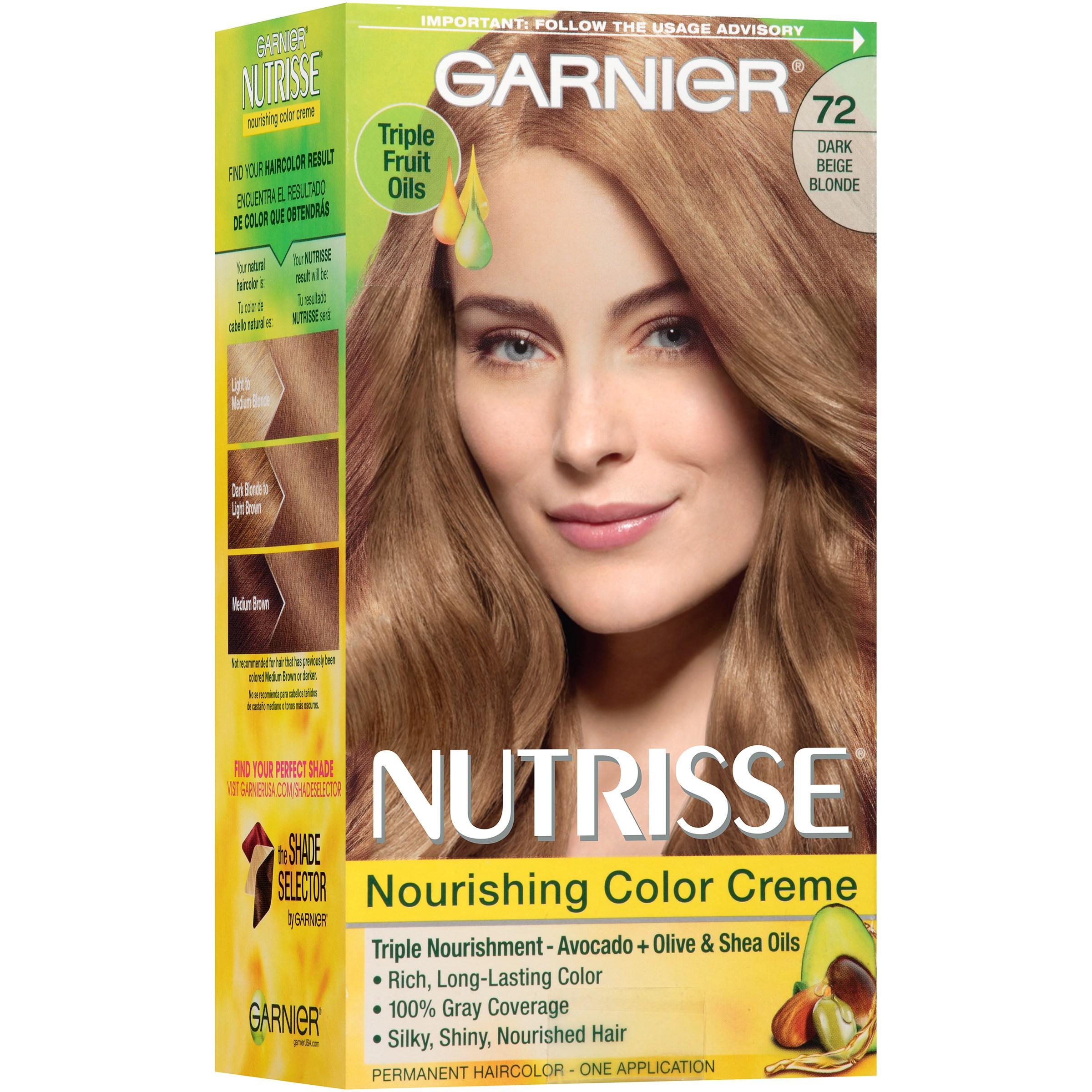 Garnier Nutrisse Nourishing Color Creme Hair Color, 72 Dark Beige Blonde Sweet Latte  Walmart.com