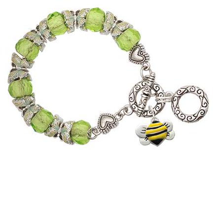 Silvertone Large Enamel Bumble Bee Lime Green Butterfly Bead Charm -