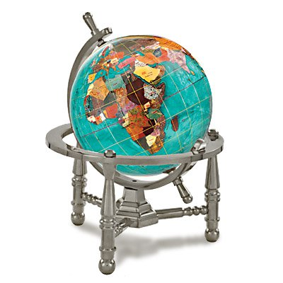 Alexander Kalifano GNT80AS-BB 3 in. Gemstone Globe with Antique Silver Nautical 3-Leg Stand - Bahama Blue