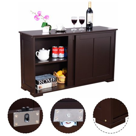 Kitchen Storage Cabinet Sideboard Buffet Cupboard Wood Sliding Door