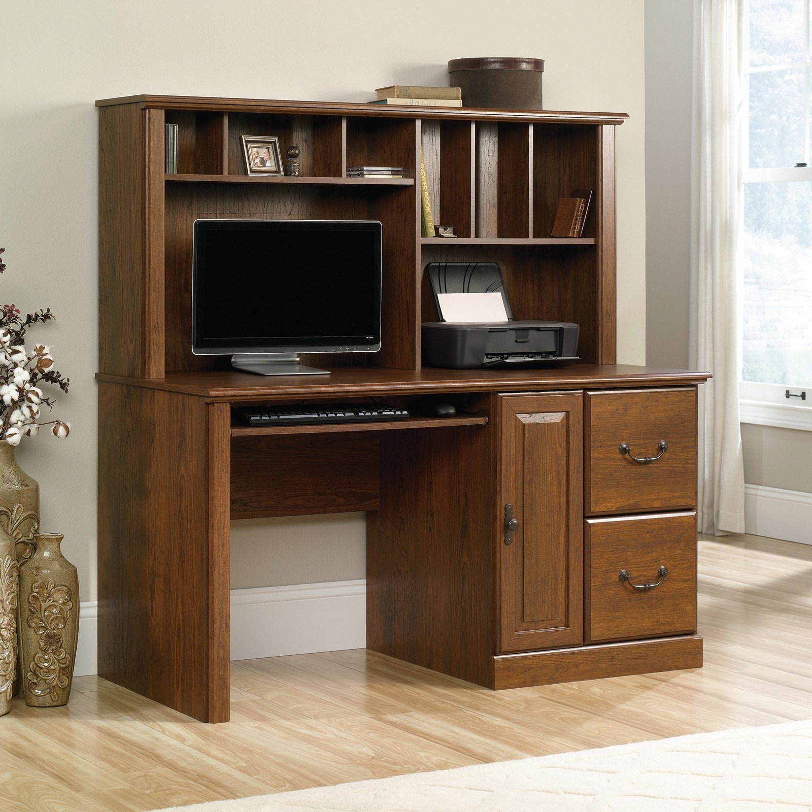 Sauder Orchard Hills Computer Desk With Hutch, Milled Cherry Finish    Walmart.com