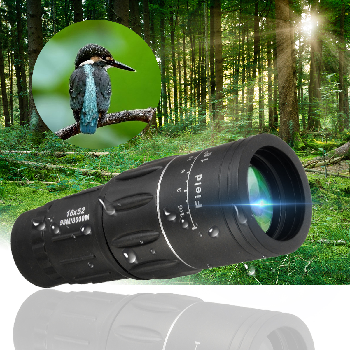 16x52 HD Portable Handheld Monocular Telescope Day Dual Focus Optical Zoom Waterproof Outdoor Camping Accessories For Hiking Camping Hunting Sightseeing