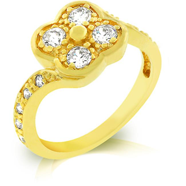 18k Gold Plated Ring with a Twisting Shank Design and Milligrain and Round Clear CZ Accents in Goldtone - Size 10