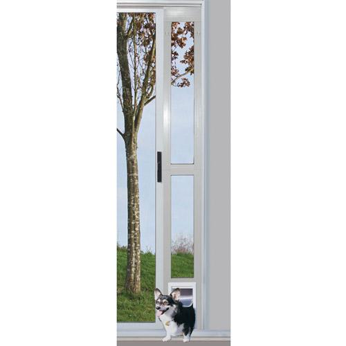 Ideal Modular Aluminum Patio Pet Door White, Medium for pets to 35 lbs.
