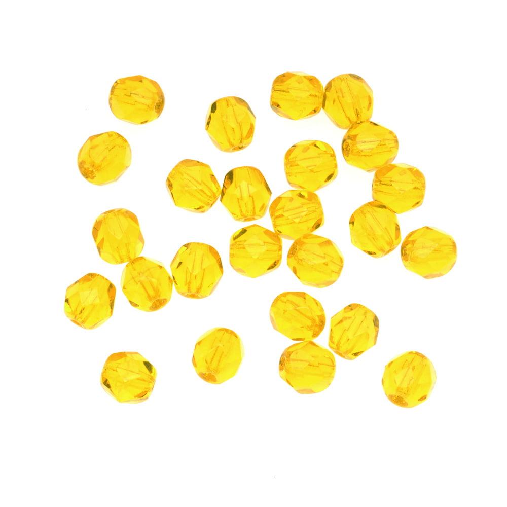 Czech Fire Polished Glass Beads 6mm Round Citrine (25)