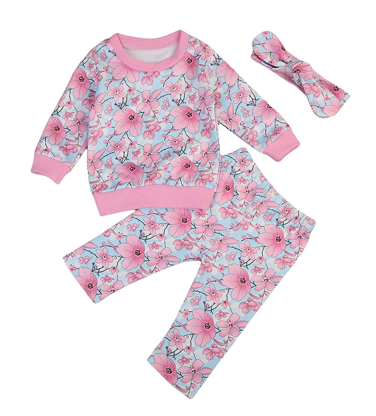 Newborn Baby Girls Clothes Floral Sweatshirt Pants Tracksuit Headband Set Long Sleeve Winter Clothes Outfits Set